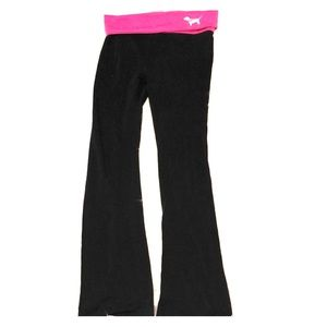 Victoria's Secrer Pink Black yoga pants roll down